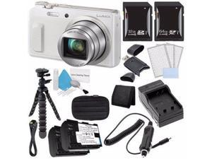 Panasonic Lumix DMC-ZS45 16 MP Wi-Fi Digital Camera (White) + DMW-BCM13 Battery + External Charger + 32GB SDHC Card + Saver Bundle 3 - International Version (No Warranty)