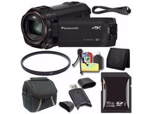 Panasonic HC-WX970 4K Ultra-HD Camcorder with Twin Video Camera + 16GB SDXC Card + 49mm UV Filter + Mini HDMI Cable + Case + Card Reader + Card Wallet Saver Bundle