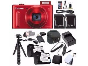 Canon PowerShot SX610 HS Digital Camera (Red) (International Model No Warranty) 0113C001 + NB-6L Battery + External Charger + 16GB SDHC Card + 32GB SDHC Card + Case Saver Bundle