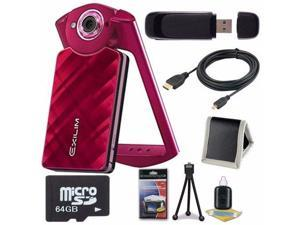 Casio EX-TR50 Self Portrait/ Selfie Digital Camera (Red) + 64GB microSD Class 10 Memory Card + Micro HDMI Cable + SD Card USB Reader + Memory Card Wallet + Deluxe Starter Kit 6AVE Bundle