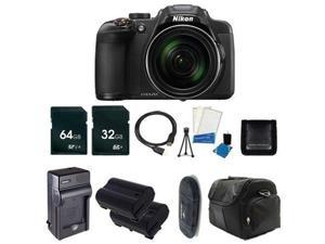 Nikon CoolPix P610 Digital Camera (Black) (International Model No Warranty) + Battery + Charger + 32GB Card + 64GB Card + Case +HDMI Cable + Card Reader + Memory Card Wallet Bundle 3
