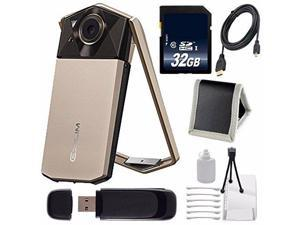 Casio Exilim EX-TR70 Selfie Digital Camera (Gold) (International Version)  + Micro HDMI Cable + SD Card USB Reader + Memory Card Wallet + 32GB SDHC Class 10 Memory Card Bundle