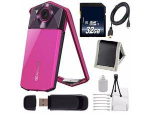 Casio Exilim EX-TR70 Selfie Digital Camera (Vivid Pink) (International Version)  + Micro HDMI Cable + SD Card USB Reader + Memory Card Wallet + 32GB SDHC Class 10 Memory Card Bundle