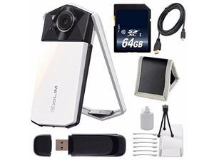 Casio Exilim EX-TR70 Selfie Digital Camera (White) (International Version)  + Micro HDMI Cable + SD Card USB Reader + Memory Card Wallet + 64GB SDXC Class 10 Memory Card Bundle