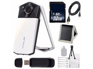 Casio Exilim EX-TR70 Selfie Digital Camera (White) (International Version)  + Micro HDMI Cable + SD Card USB Reader + Memory Card Wallet + 32GB SDHC Class 10 Memory Card Bundle