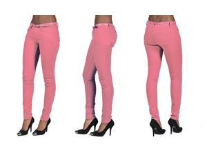 C'est Toi 4 Pocket Belted Solid Color Skinny Jeans-Coral-3