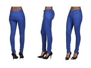 C'est Toi 4 Pocket Braided Belted Solid Color Skinny Jeans-Royal Blue-0