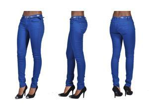C'est Toi 4 Pocket Belted Solid Color Skinny Jeans-Royal Blue-3