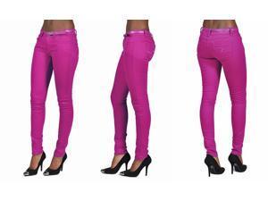 C'est Toi 4 Pocket Belted Solid Color Skinny Jeans-Plum-1