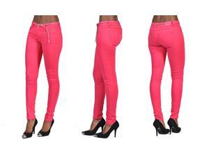 C'est Toi 4 Pocket Braided Belted Solid Color Skinny Jeans-Fuschia-0