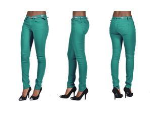 C'est Toi 4 Pocket Belted Solid Color Skinny Jeans-Jade-11