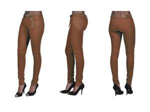 C'est Toi 4 Pocket Braided Belted Solid Color Skinny Jeans-Brown-0