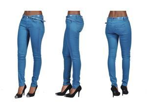 C'est Toi 4 Pocket Belted Solid Color Skinny Jeans-Marin Blue-3