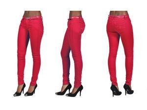 C'est Toi 4 Pocket Belted Solid Color Skinny Jeans-Red-0