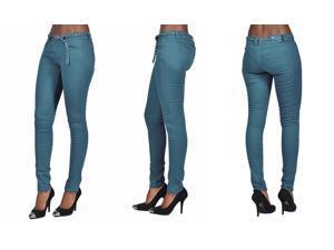 C'est Toi 4 Pocket Braided Belted Solid Color Skinny Jeans-Jade-11