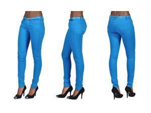 C'est Toi 4 Pocket Belted Solid Color Skinny Jeans-Turquoise-13