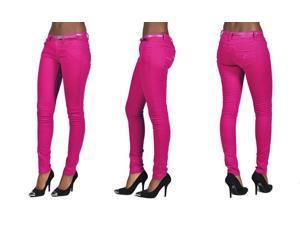 C'est Toi 4 Pocket Belted Solid Color Skinny Jeans-Fuschia-15