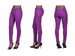 C'est Toi 4 Pocket Braided Belted Solid Color Skinny Jeans-Plum-0