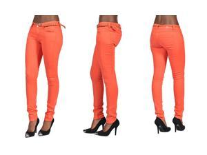 C'est Toi 4 Pocket Braided Belted Solid Color Skinny Jeans-Salmon-0