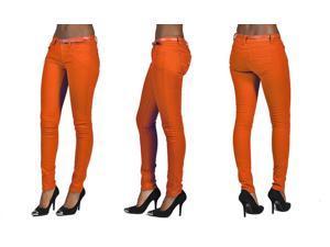 C'est Toi 4 Pocket Belted Solid Color Skinny Jeans-Orange-13