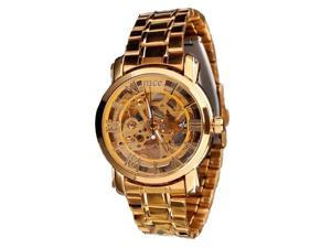 THZY MCE Gold color Wristwatches Steel Watch Band Roman Numerals Transparent Hollow Automatic Mechanical Men's Watches