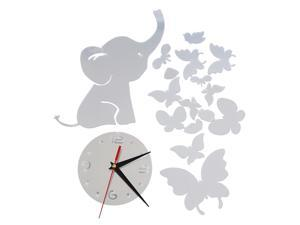 SODIAL Elephants play Butterfly Sticker Creative DIY Mirror Wall Clock Wall Sticker Wall Decal Sliver