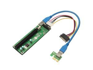 THZY PCI Express PCI-E 1x-16x Extender Riser Card USB 3.0 + SATA 15P Cable Adapter