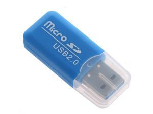 THZY Mini drive USB 2.0 Memory Card Reader Adapter Stick Micro SD TF Card Reader Blue