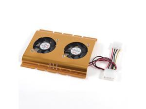 """THZY 3.5"""" Hard Disk Drive HDD Dual Fan Cooling Cooler Gold Tone for Desktop PC"""