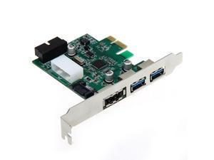 THZY Desktop 3 Port USB 3.0 20 Pin Power ESATA PCI Express Adapter Controller Card