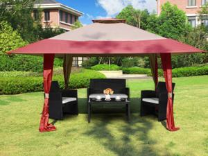 Cloud Mountain 13' x 13' Outdoor Easy Pop-Up Double Roof Canopy Gazebo, Waterproof Yard Patio Party Event Canopy Tent