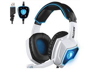 2016 New SADES Spirit Wolf 7.1 Surround Sound Stereo USB Gaming Headset Headband Headphones with Mic Over-the-Ear Noise Isolating Volume Control LED Light For PC Gamers (Black White)