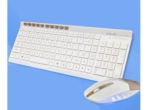 E-3LUE EKM825 Wireless Keyboard/Mouse Combo with Chocolate Keys and Nano USB Receiver for PC,EKM825 Wireless and USB Mouse(Gold/White)