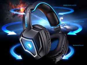 [2016 Newest]SADES Spirit Wolf USB Gaming Headset 7.1 Surround Sound Stereo Headphone with Mic,Over-the-Ear Noise Isolating, Noise canceling earphone