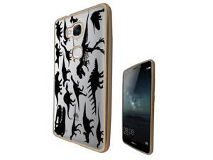 Huawei Ascend Mate 7 Mini  Gel Silicone Case All Edges Protection Cover c0371 - cool fun dinosaur skeleton bones fossils t-rex spinosaur