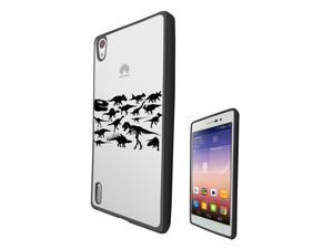Huawei Ascend P7  Gel Silicone Case All Edges Protection Cover c0332 - cool fun dinosaur skeleton bones fossils t-rex spinosaurus triceratops stegosaurus
