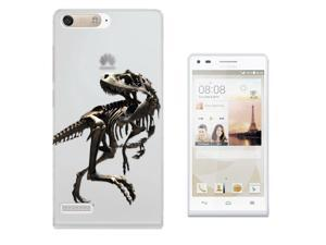 Huawei Ascend P7 Mini Gel Silicone Case All Edges Protection Cover C0748 - Scary T-Rex Tyrannosaurus Bones Fossil