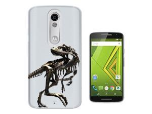 Motorola Moto X Force Gel Silicone Case All Edges Protection Cover C0748 - Scary T-Rex Tyrannosaurus Bones Fossil