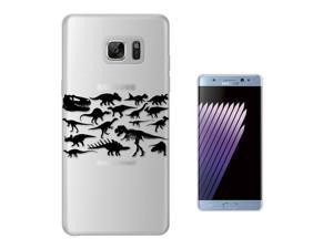 Samsung Galaxy Note 7 Gel Silicone Case All Edges Protection Cover C0332 - Dinosaur Skeleton Bones Fossils T-Rex Spinosaurus Triceratops Stegosaurus