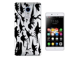 ZTE Blade X9 5.5'' Gel Silicone Case All Edges Protection Cover C0371 - Dinosaur Skeleton Bones Fossils T-Rex Spinosaurus