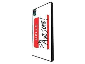 Sony Xperia M4 Aqua / Xperia M4 Coque Fashion Trend Case Coque Protection Cover plastique et métal - Black 2107 - Hello I'm Awesome Red Credit Card