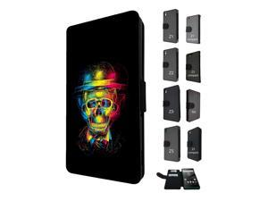 Sony Xperia M5 Aqua / Xperia M5 Flip Case Cover Book Style Tpu case 1483 - Trendy skull x-ray colourful skull tattoo