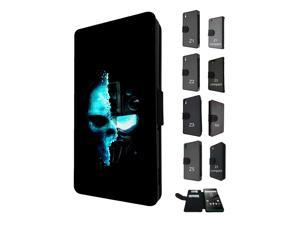 Sony Xperia M4 Aqua / Xperia M4 Flip Case Cover Book Style Tpu case 1481 - Trendy skeleton x-ray scary skull tattoo biker skull