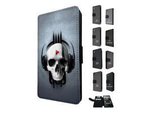 Sony Xperia M5 Aqua / Xperia M5 Flip Case Cover Book Style Tpu case 1480 - Trendy skeleton x-ray headphones scary skull tattoo biker skull