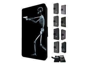 1112 - death skeleton zombie x-ray gun bones Design Sony Xperia M5 Aqua / Xperia M5 Flip Case Credit Card Holder Cover Book Style