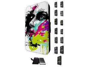 840 - Colorful face painting Design Samsung Galaxy A3 -2105 Flip Case Credit Card Holder Cover Book Style