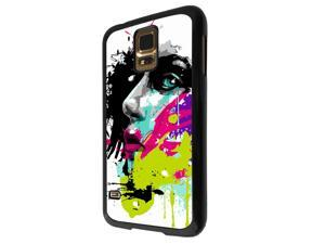 840 - Colorful face painting Design Samsung Galaxy S5 / SAMSUNG Galaxy S5 Neo Hard Plastic Case Back Cover - Black
