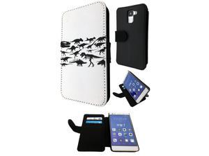Huawei Honor 7 Flip Case Credit Card Holder Cover Book Style C0332 - Dinosaur Skeleton Bones Fossils T-Rex Spinosaurus Triceratops Stegosaurus