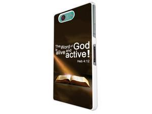 745 - Bible Word of God Alive and Active Design Sony Xperia Z1 Compact / Mini Hard Plastic Case Back Cover - White