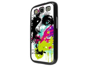 840 - Colorful face painting Design Samsung Galaxy S3 I9300 Hard Plastic Case Back Cover - Black